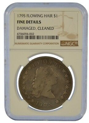 1795 3 Leaves NGC Fine Details Flowing Hair Silver Dollar