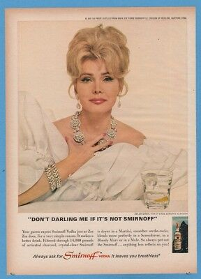 1967 Smirnoff Zsa Zsa Gabor Don't Darling me vintage bar decor print ad