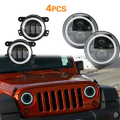 """7"""" CR EE LED Projector Headlights Halo with Fog Light Combo For 07-18 Jeep"""