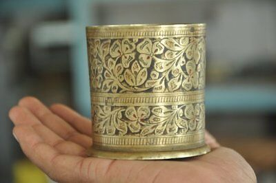 Old Brass Handcrafted Cylindrical Shape Lacquer Work Engraved Pen Stand