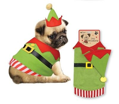 Christmas Elf Outfit For Dog Puppy Novelty Fancy Dress Coat & Hat Costume XSPCEL