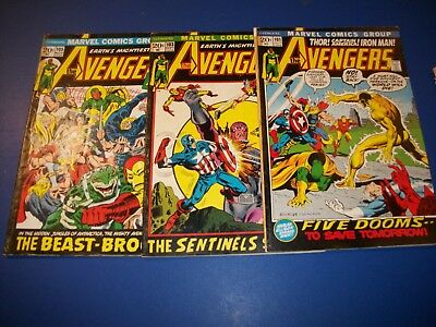 Avengers #101,103,105 Bronze age low grade lot of 3