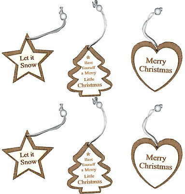 Hanging Christmas Tree Decorations Set Wooden Detail & Hessian Heart Star Design