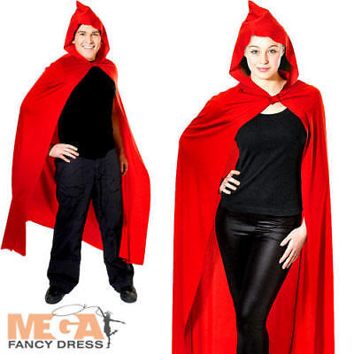 Red Hooded Cape Adults Fancy Dress Vampire Mens Ladies Halloween Costume Acc
