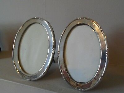 "Stunning Antique Pair Large 6.25"" Ww1 1915   Hallmarked Silver Photo Frames"
