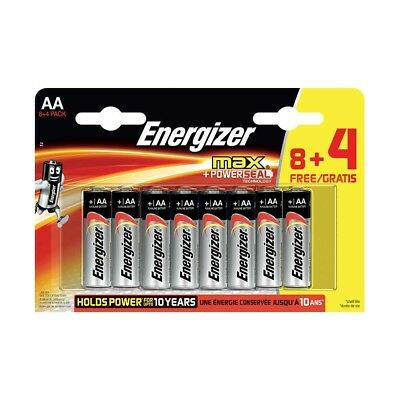 Value 12 Pack Energizer Max AA Alkaline Batteries - LR6 MN1500 etc.
