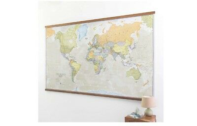 Large Laminated Classic World Map Highly Detailed Vintage Wall Map Print Poster