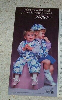 1985 advertising -Her Majesty little girl well-dressed princess fashion PRINT AD