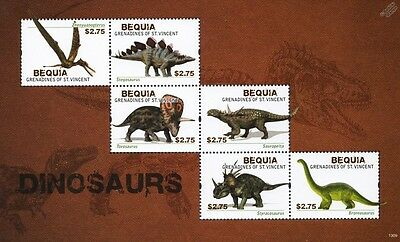 DINOSAURS Mint MNH Stamp Sheet #13 (2012 Bequia, Grenadines of St Vincent)