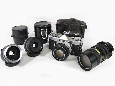 Olympus OM-1n 35mm SLR Film Camera, 50mm f1.8, 28mm, 70-150mm Lenses + EXTRAS
