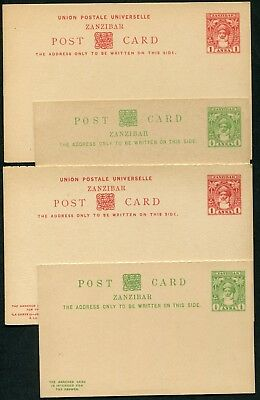 Zanzibar 1899 postal stationery single & reply cards x4 P.9-P.12 unused