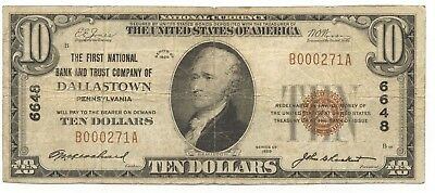 1929 $10 NATIONAL CURRENCY FIRST NATIONAL BANK of DALLASTOWN, PA #6648