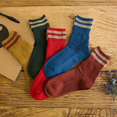 New Socks Cashmere Warm Thick Retro Girl's Vintage Womens 1 Winter Striped Wool
