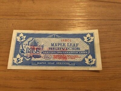 Canada Army Maple Leaf MLS 5 Cents World Banknote In UNC Condition Rare