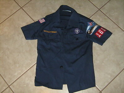 Official Boy Scouts of America Scout Shirt Blue Uniform Youth Size Small Patches