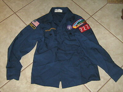 Boy Scouts of America Scout Shirt Blue Long Sleeve Youth Size Medium + Patches