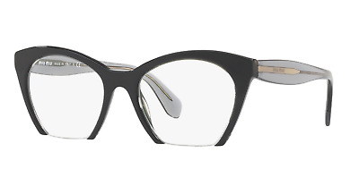 2aa24a19b8e Miu Miu VMU 03QV H5X-1O1 Eyeglasses Top Black Transparent Frame 51mm New  Rxable