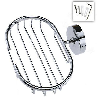 Stainless Steel Wall Mounted Bathroom Shower Soap Dish Holder Cup Tray Basket
