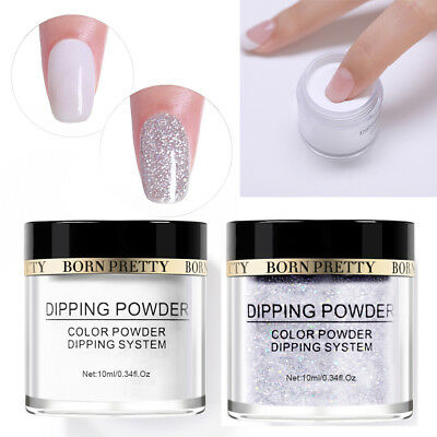 2Bottles BORN PRETTY Dipping Powder White Glitter Acrylic Dust Nail Decoration