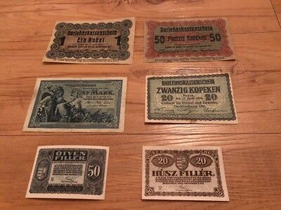 Lot Of 6 German World Banknotes Foreign Paper Money