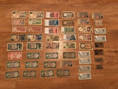 Lot Of 39 World Banknotes Foreign Paper Money