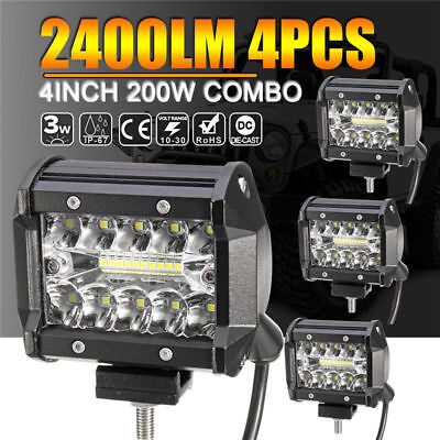 "4x 4"" Inch LED Work Light Flood Spot Combo Off-road Driving Fog Lamp Truck Boat"