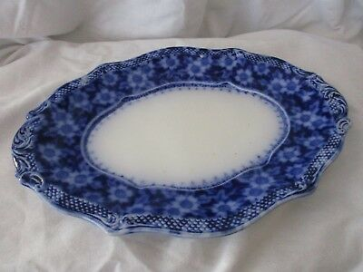 Grindley antique flow blue small serving dish underplate Grace c.1897 England