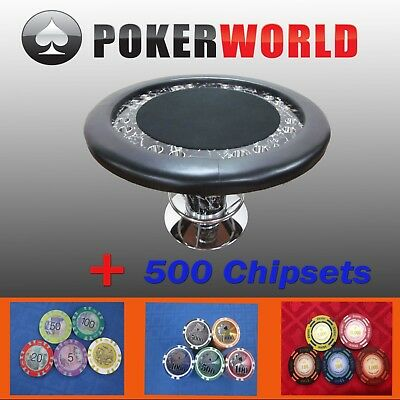 """Luxury Marble  Design 58"""" Round Poker Table W/ Foot Rest + 500 Chipsets"""