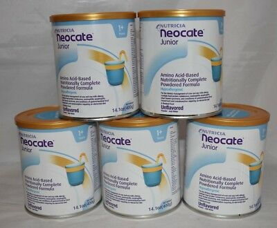5 cans Neocate Junior Unflavored JR powder hypoallergenic baby formula AHqJ
