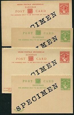 Zanzibar 1899 postal stationery single & reply cards x4 P.9-P.12 opt. SPECIMEN