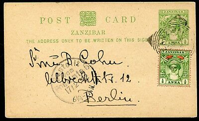 Zanzibar 1899 ½a postal stationery card P.9 used to Germany: uprated ½a