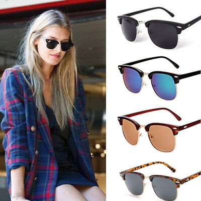 Men Women Black Leopard Retro Vintage Sunglasses Unisex UV400 Half Rimmed Frames