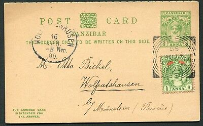 Zanzibar 1899 ½a postal stationery reply card P.11 (complete) used to Germany