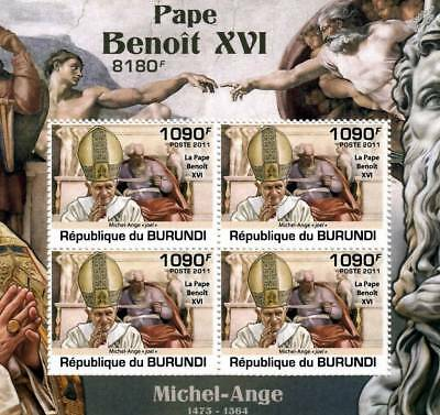Pope BENEDICT XVI & Michelangelo Art Stamp Sheet #3 of 5 (2011 Burundi)