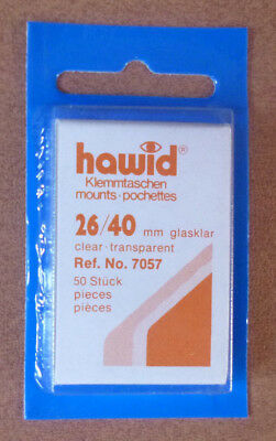 HAWID STAMP MOUNTS CLEAR Pack of 50 Individual 26mm x 40mm - Ref. No. 7057