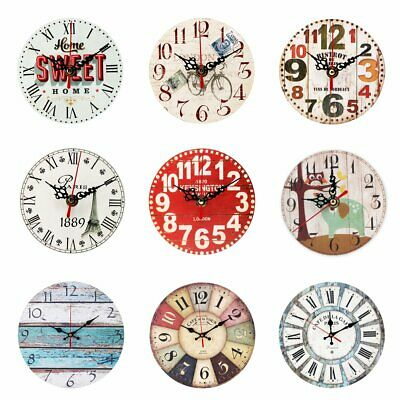 5/12''Vintage Rustic Wooden Wall Clock Home Antique Shabby Chic Retro Home Decor