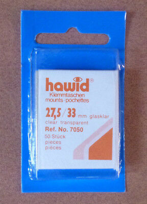 HAWID STAMP MOUNTS CLEAR Pack of 50 Individual 27,5mm x 33mm - Ref. No. 7050