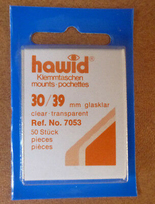 HAWID STAMP MOUNTS CLEAR Pack of 50 Individual 30mm x 39mm - Ref. No. 7053