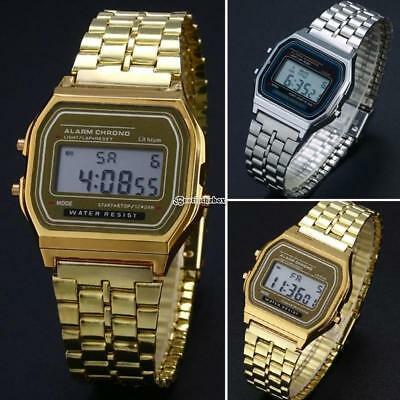 Men Stainless Steel Band LCD Digital Wrist Watch Sport Square Quartz B98B 02