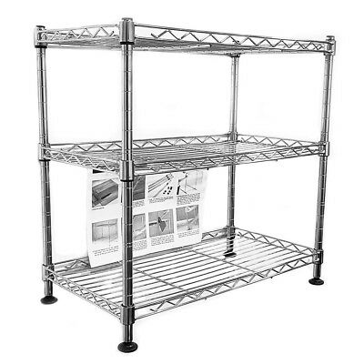 45x45x25cm Real Chrome Wire Rack Metal Steel Kitchen Garage Shelving Racks UKDC