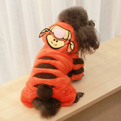 Pet Small Dog Cat Tiger Costume Outfit Jumpsuit Clothes For Halloween Christmas