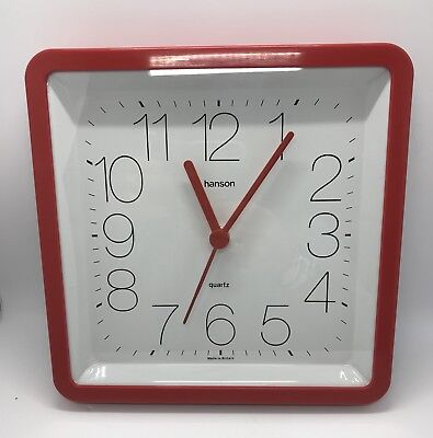 Vintage / Retro Wall Clock Made by Hanson 1980's Red Glass Front Fully Working