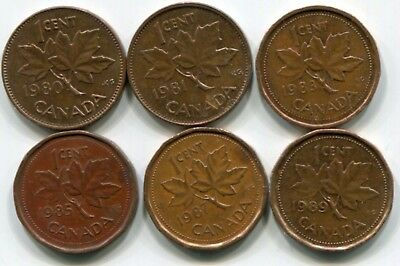 Misc Canada cents 1980-1981-1983-1985-1987-1989 in average condition