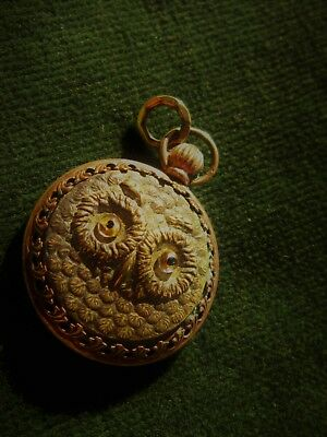 victorian owl fob pendant glass with carved agate back