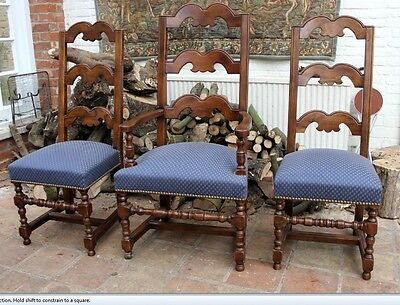 Set of Three Antique Walnut Ladder back chairs Dutch influence