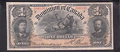 1898 Dominion Of Canada 1 Dollar Bank Note