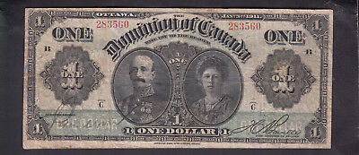 1911 Dominion Of Canada 1 Dollar Bank Note