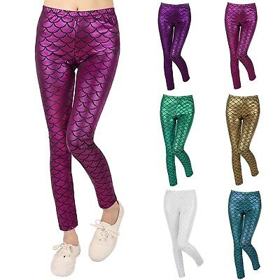 Girl's Shiny Fish Scale Mermaid Leggings Metallic Glitter Costume (4T-12)