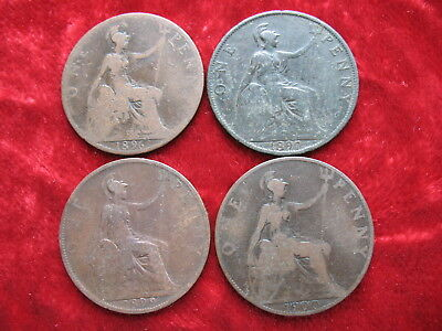 Lot of 4 English Pennys 1896, 1897, 1899 & 1900 Queen Victoria! Large 3CM Coins!