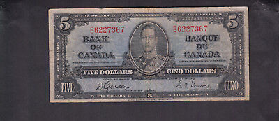 1937 Canada 5 Dollars Bank Note Gordon